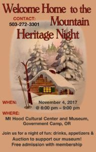 HERITAGE NIGHT AT THE MUSEUM @ Mt Hood Museum, Government Camp, OR
